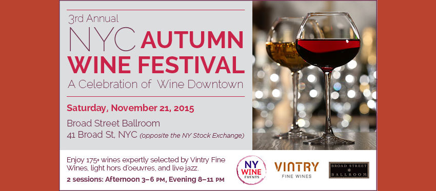 Tickets for NYC Autumn Wine Festival in New York City from ShowClix
