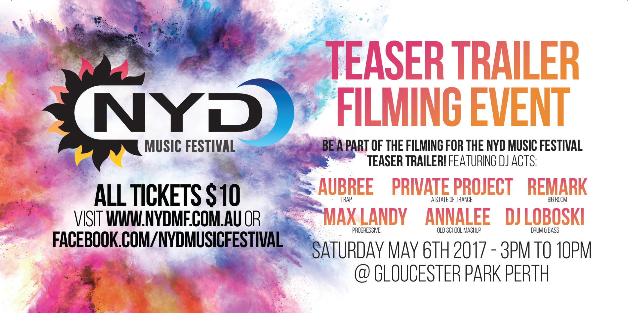 Tickets for NYD Music Festival Teaser Trailer Filming in East Perth from Ticketbooth