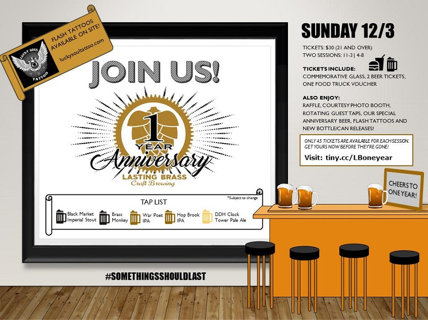 Tickets for Lasting Brass Brewing's 1st Anniversary Party in Oakville from BeerFests.com