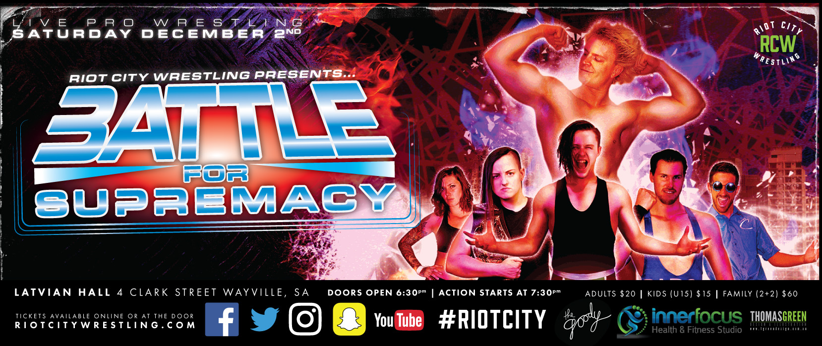 Tickets for Riot City Wrestling: Battle For Supremacy 2017 in Wayville from Ticketbooth