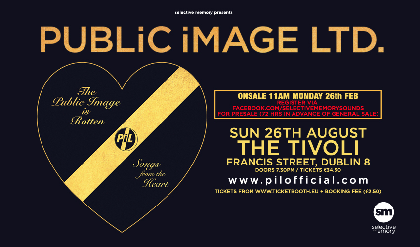 Tickets for PUBLiC iMAGE LTD - THE PUBLIC IMAGE IS ROTTEN TOUR in Dublin from Ticketbooth Europe