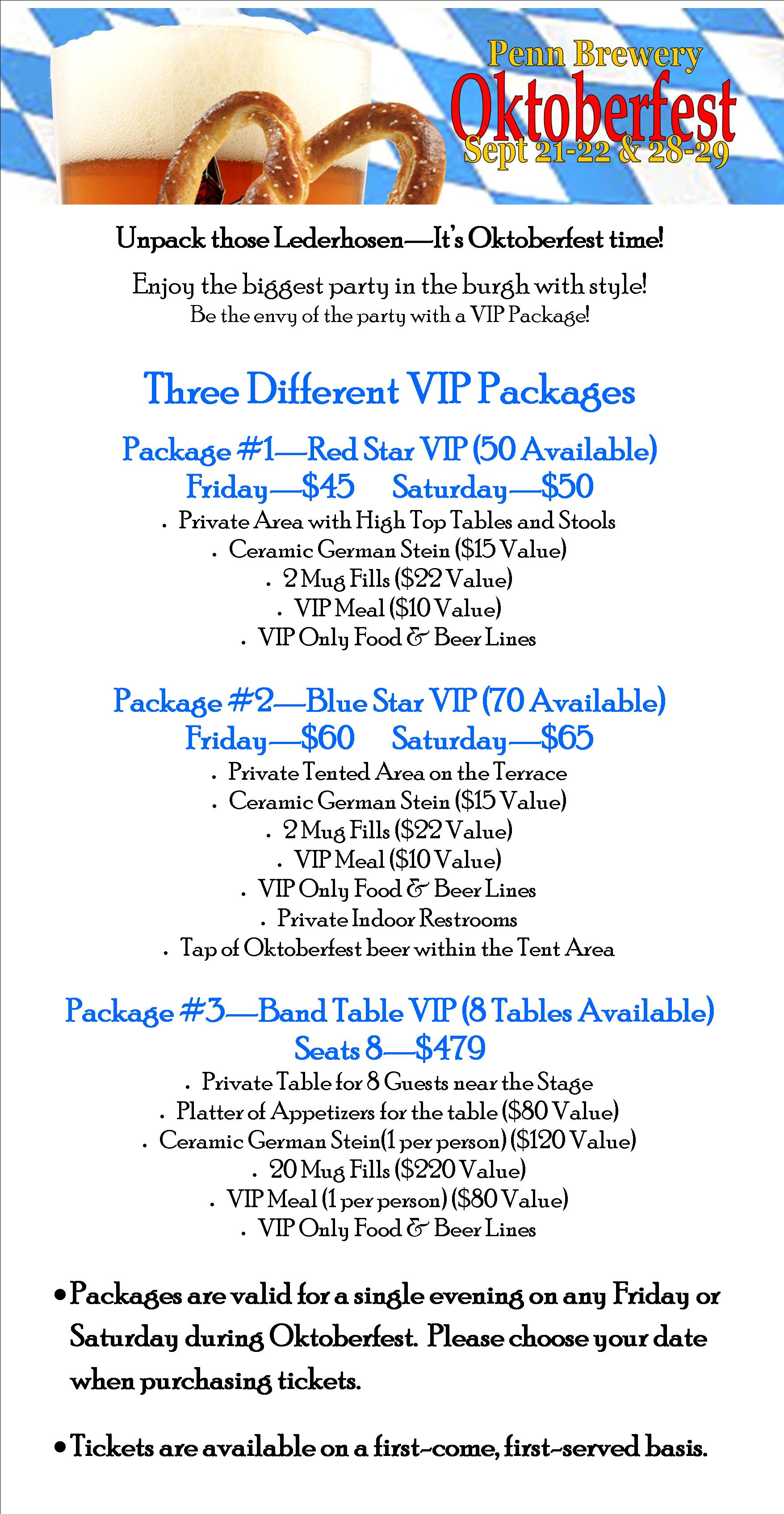 Tickets for Oktoberfest VIP Package 2018 - Individual Ticket in