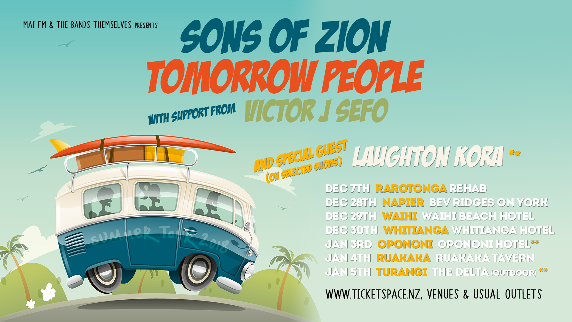 Tickets for SONS OF ZION-TOMORROW PEOPLE-LAUGHTON KORA Turangi in Turangi from Ticketspace