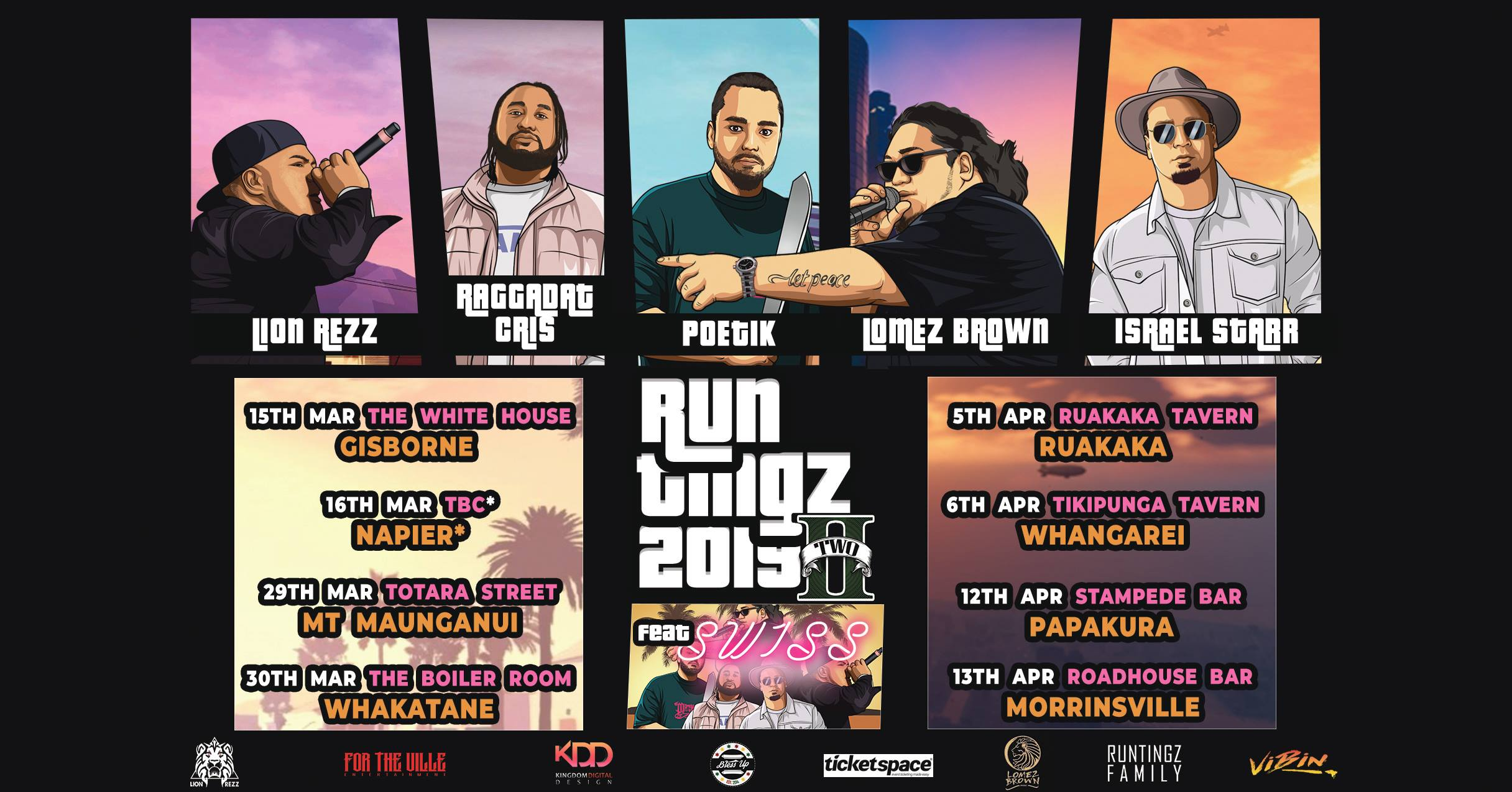 Tickets for RUNTINGZ 2019 NZ TOUR ft. SWISS - Morrinsville in Morrinsville from Ticketspace