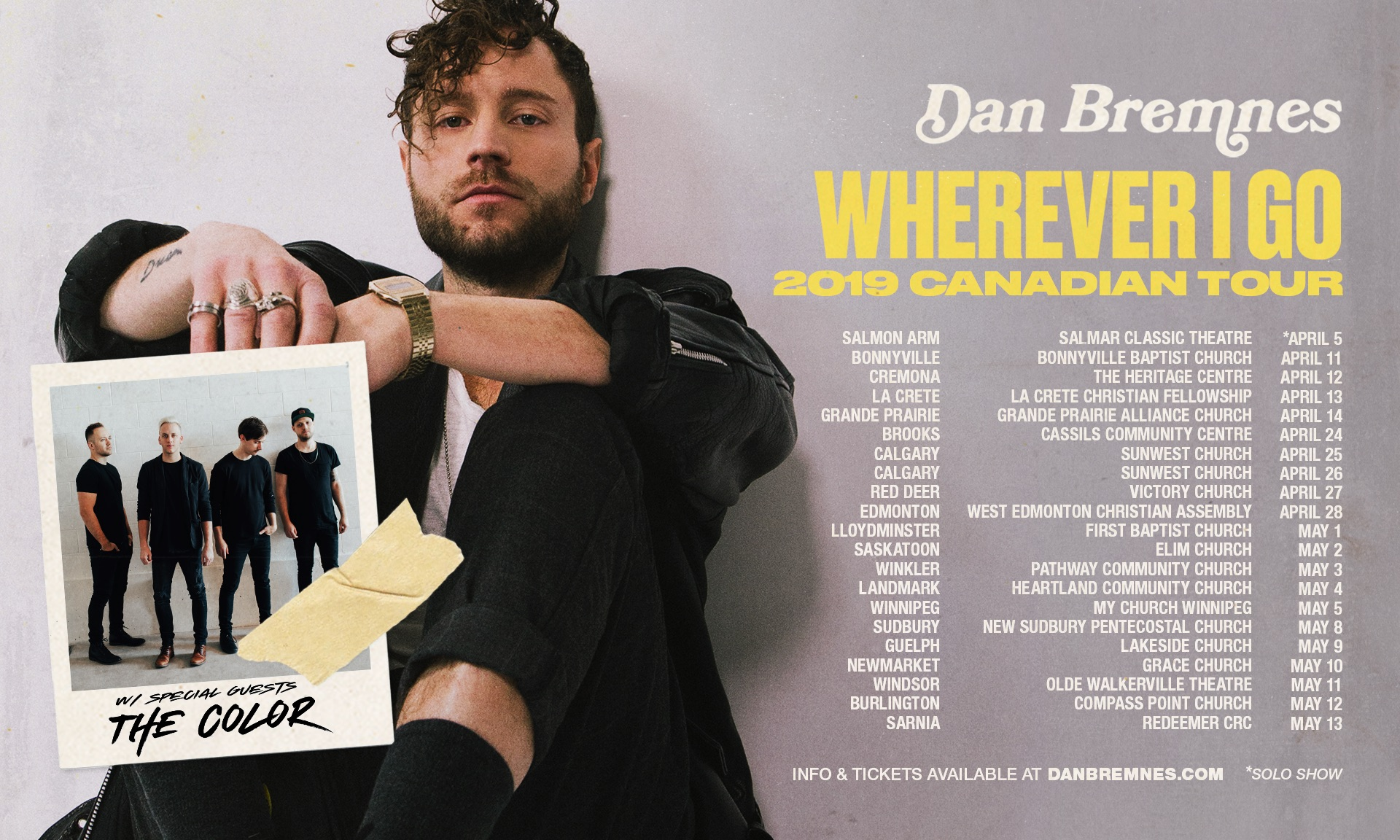 Tickets for Dan Bremnes, Wherever I Go Tour with The Color in Lloydminster from BuzzTix