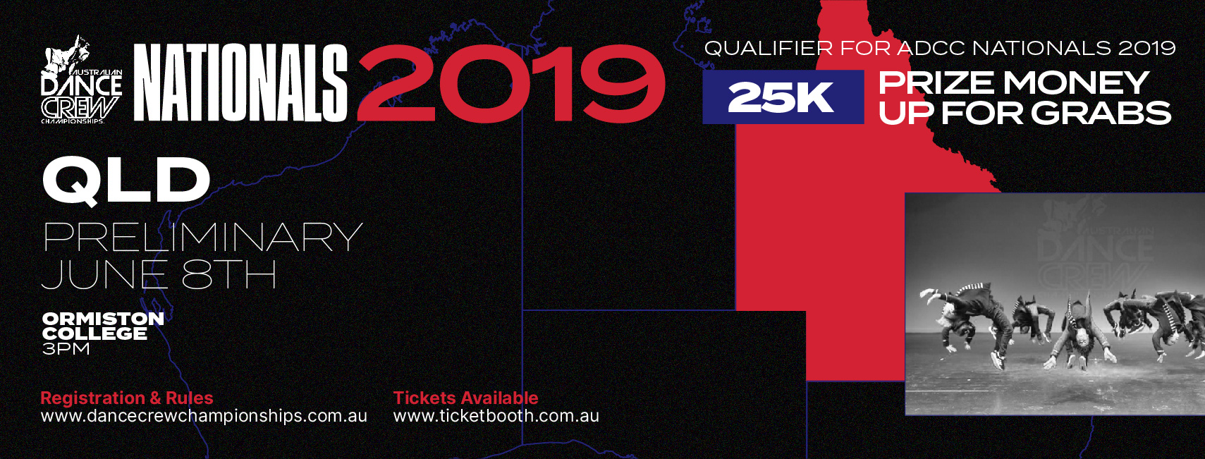 Tickets for Australian Dance Crew Championships – QLD Preliminary 2019 in Ormiston from Ticketbooth